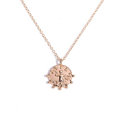 FDesigner Ancient Greek Coin Collar Necklace Athena Apollo Pendant Choker Chain Dainty Jewelry Gold for Women and Girls (Athena)