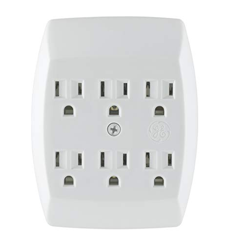 GE 6 Outlet Adapter, 3 Prong Outlets, Grounded, Wall Charger, Charging Station, White, ()