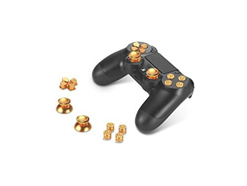 (Supremery® Playstation 4 DualShock 4 Aluminium Buttons Hats Thumbsticks Spare Parts Accessories for PS4 / PS4 Slim / PS4 Pro (Bullet Gold))