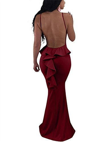 (GOBLES Women Sexy Spaghetti Strap Backless Ruffle Bodycon Evening Mermaid Maxi Dress Wine Red)