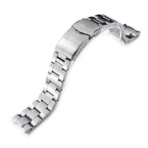 : 20mm Super 3D Oyster Watch Band for Seiko Alpinist SARB017, Brushed, V-Clasp