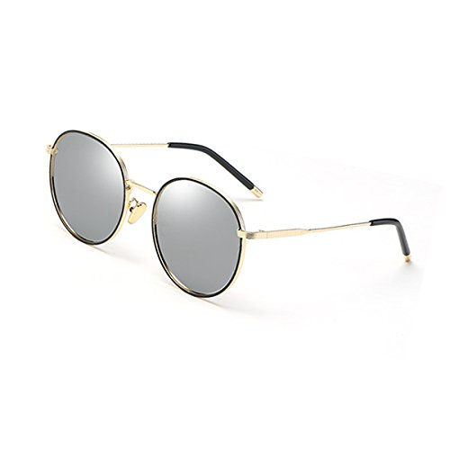 Gold UVB Party UVA Drive de Party Color mercury polarizadas coreano frame sol femeninas cara WLHW frame Gold mercury redonda Travel espejo Gafas vwzHq76w