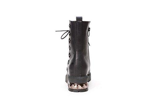 AdeeSu Ladies Bandage Square Heels Platform Soft Material Boots Black dZwNd