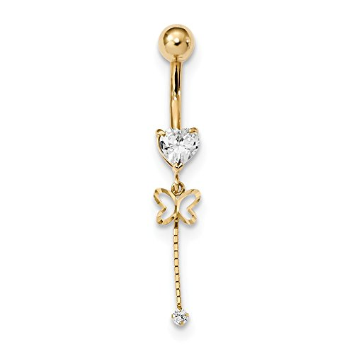 Butterfly Cubic Zirconia Belly Ring - 5.5mm 14k Cubic Zirconia Butterfly Chain Dangle Belly Ring