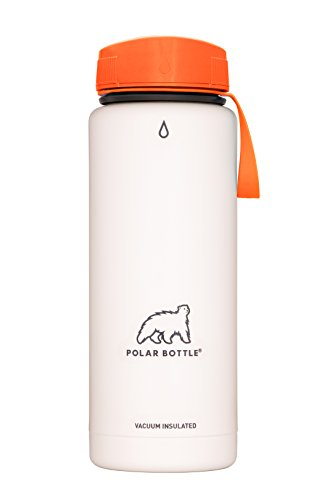 Polar Bottle Thermaluxe - Vacuum Insulated Stainless Steel Travel Mug, White Powder Coat {Half-Twist Cap - Tangerine} 21 oz.