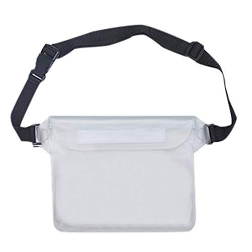 Waterproof Pouch Bag Case with Waist Strap for Beach Swimming Boating Kayaking Fishing Hiking Camping Protect for iPhone Cell Phone Camera Cash MP3 Passport,White