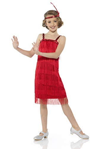 Flapper Costume Girls, 20s Dress with Headband, Kids 9-10 Years, Red, Extra Large