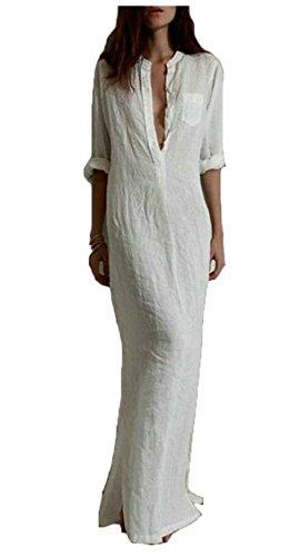 Jaycargogo Femmes Été Boho Plage Sexy Robes Fractionnement Moulante Blanc