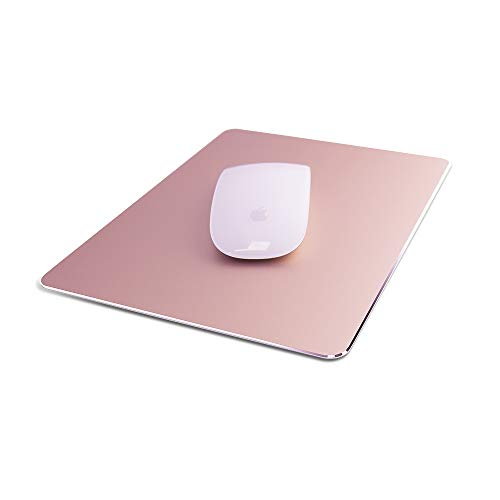 Aluminum Metal Mouse Pad Ultra Thin Winter and Summer Dual-Use Waterproof Fast and Accurate Control for Gaming and Office(Small Rose Gold 9.05X7.08 inch)