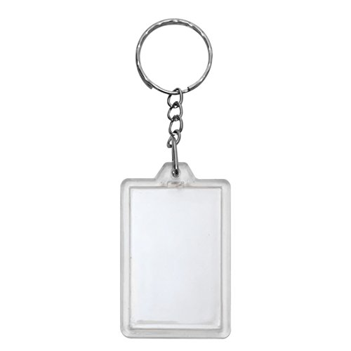 10 Clear Acrylic Snap in Rectangle Photo Keychains 10cm x 3.5cm or 3 7/8 x 1 3/8 Inches