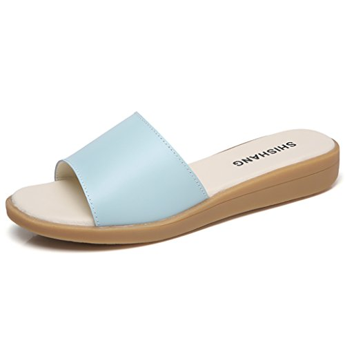 Slip and Non 5 Blue Women Sandals Blue Blue PENGFEI Female EU38 Sandals Beach Flat Leisure Slippers Summer Pregnant L Black White Color 240mm Size UK5 1zSzY68