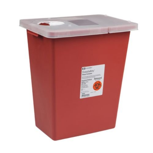 Covidien 8991 SharpSafety Sharps Container Gasketed Slide Lid, 18 gal Capacity, Red (Pack of 5)