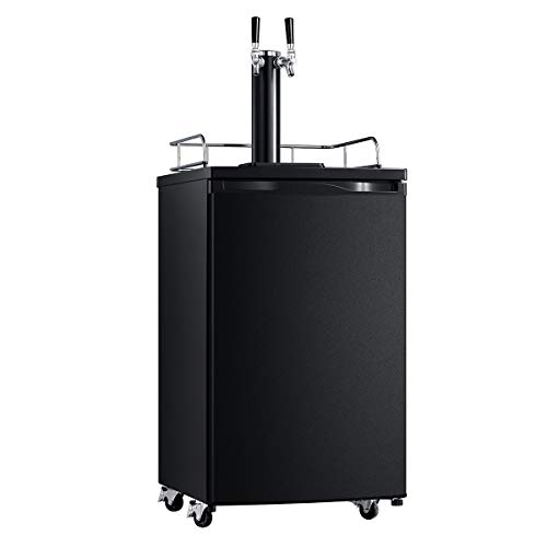 SMETA Dual Tap Tower Full Size Keg Beer Cooler Refrigerator Kegerator Draft Beer Dispenser