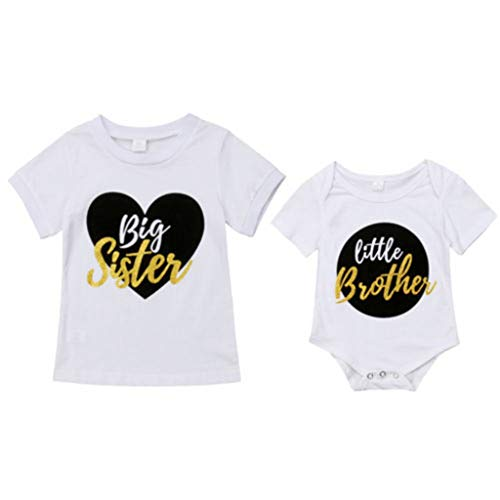 Family Clothes, Summer Infant Baby Little Brother Romper Big Sister T-Shirt Match Clothes Outfit Set Casual Clothing 18M -