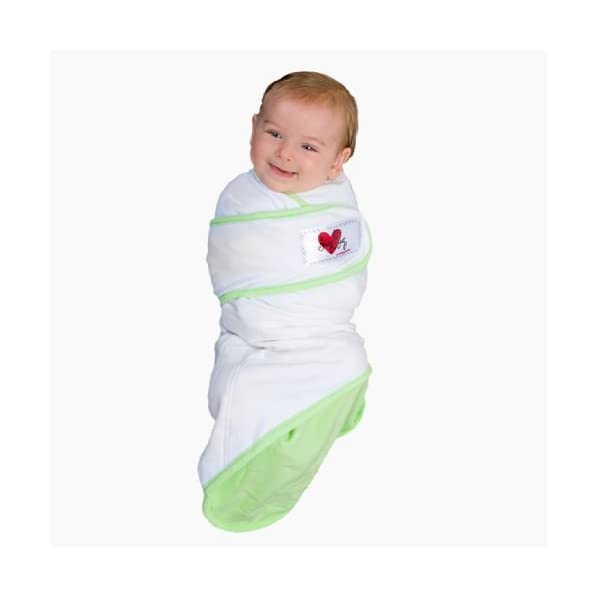 Go Mama Go Designs Snug and Tug Swaddling Blanket, Large, Green