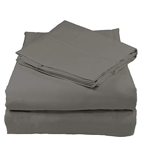 Whisper Organics Organic Cotton Bed Sheets Set GOTS Certified, 400 Thread Count, Sateen, (Queen, Dark Grey) ()