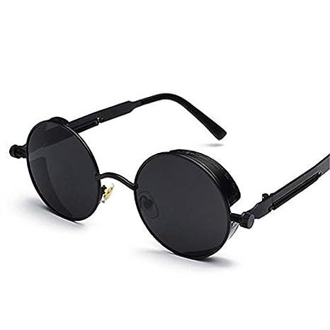 Charminer Gafas de Sol, gótico Steampunk Estilo Retro Ronda Gafas de Sol para Mujeres Hombres Ronda Lente Metal Punk Gafas Gafas de Hippy Negro Negro