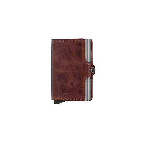 Twin Stack Aluminum (Secrid Twin wallet leather brown, Credit Card Wallet / with RFID protection, with one click all cards slide out gradually. Up to 18 cards)