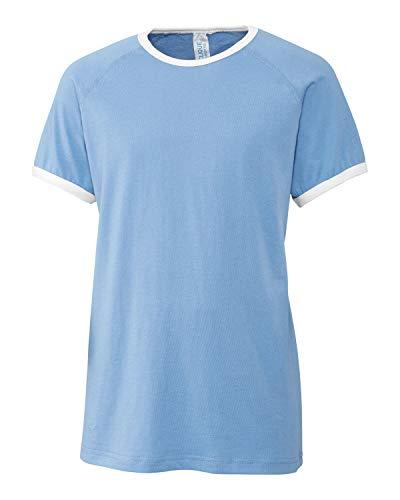 Youth Short Sleeve 100% Cotton Jersey Playlist Ringer Tee - Unisex - Girls/Boys-Light Blue-L