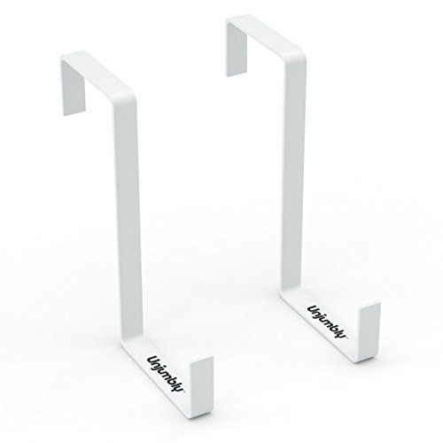Unjumbly Over The Door Hook - 2 Pack - Sturdy Custom Made Reversible Design Over The Door Hooks to Fit Over The Two Most Popular Door Widths (White) ()