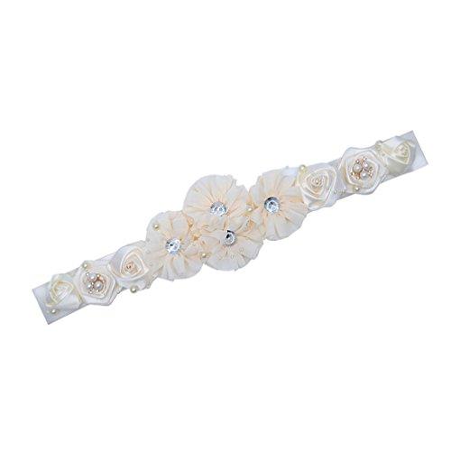Bridal Bridesmaid Belts with Flower Satin Belt for Wedding Dresses JW60 (2-Ivory) (Beaded Belt Silk)
