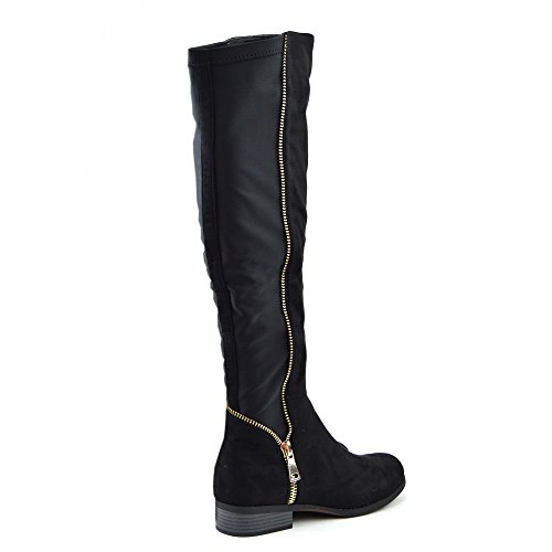 Long Kick Knee Black Heeld Elastic Shaf Suede Footwear Boots Biker Stretch Panel High Women's 1rn17wva