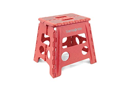 "Heavy Duty Folding Step Stool: 13"" High Double Handle / 2"" Wide When Folded in Cherry Red - by Vanderbilt"