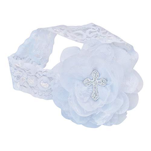 Baptism Christening Cross White Ivory Headband Baby Girl Newborn Infant Bow Gift Blessing Dedication First Communion ()