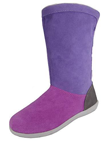 (Crocs Womens Adela Foldover Fuzz Bootie Shoes, Wild Orchid/Blue Violet, US 7)