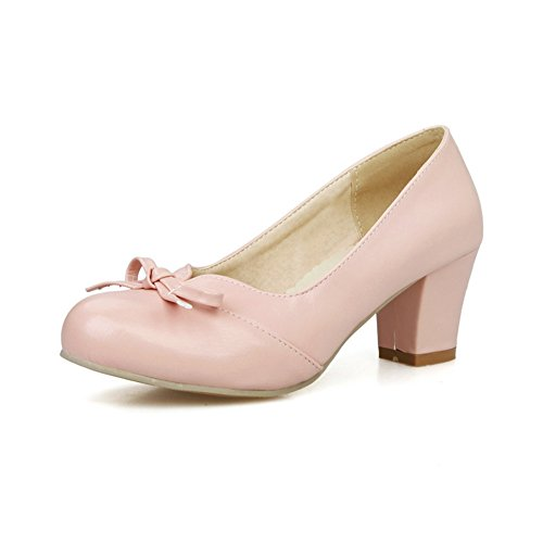 Pull Pink Pumps Heels On Urethane Shoes Ladies BalaMasa Bows Chunky SB1qHI