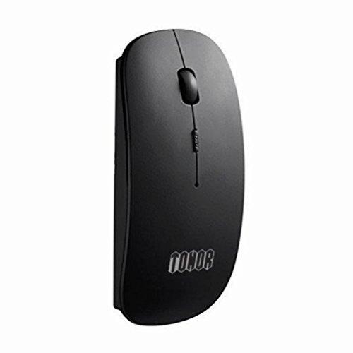 TONOR matt dünn schlank schnurlos Maus Bluetooth 3.0 kabellos wireless lautlos Mouse 800/1200/1600 DPI aufladbar geräuschlose stumm Mäuse für PC Laptop Macbook Schwarz
