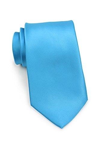 Bows-N-Ties Men's Necktie Solid Color Microfiber Satin Tie 3.25 Inches (Malibu)
