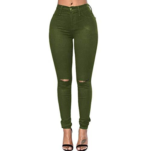 Pantalones Vaqueros Cortada Mujeres Las La Muchos De Sólido S Rodilla Color Green De Colores Ajustados Pantalones De UwYq017