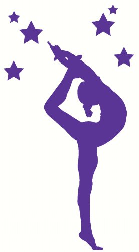 Wall Decor Plus More WDPM2496 Stretching Gymnast Silhouette with Stars Girls Bedroom Wall Sticker, 21x52-Inch, - Plus Silhouettes