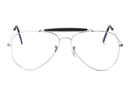 Women Glasses Frames Men Transparent Metal Sunglasses Clear Lens Sunglasses,C1SilverFrame,50Centimeters