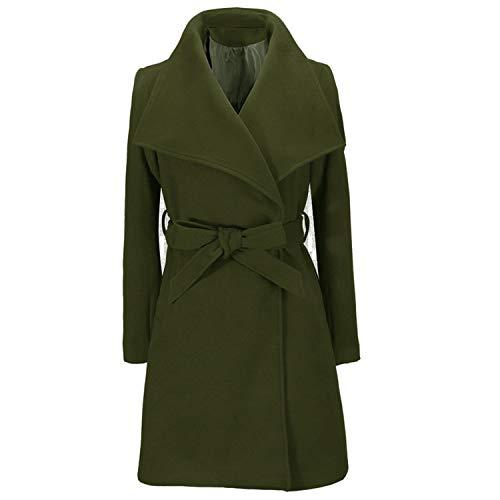 Heroic spirit Women Jackets Elegant Wool Blends Coat Fashion Streetwear Solid Big Collar Slim Ladies Blend Coat,Green,XL