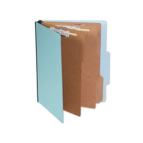 AMZfiling Blue Pressboard Classification Folder with 8 Permclip Fasteners and 3 Natural Kraft Dividers- Legal Size, Tyvek Gussets, Top Tab (10/Box)