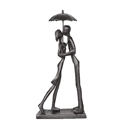 DreamsEden Affectionate Couple Art Iron Sculpture, Passionate Love Statue Romantic Metal Ornament Figurine Home & Office Decoration (Style 1)