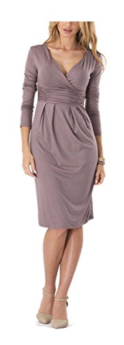 Bodycon Beige Long Deep Dress Neck Pencil Work ARJOSA V Women's Waist High Sleeve 2 x1IxROwq