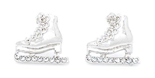 ICE SKATE EARRINGS - SKATER EARRINGS - CRYSTAL SKATE EARRINGS - MANY COLORS AVAILABLE POST & DANGLE! - CLEAR POST
