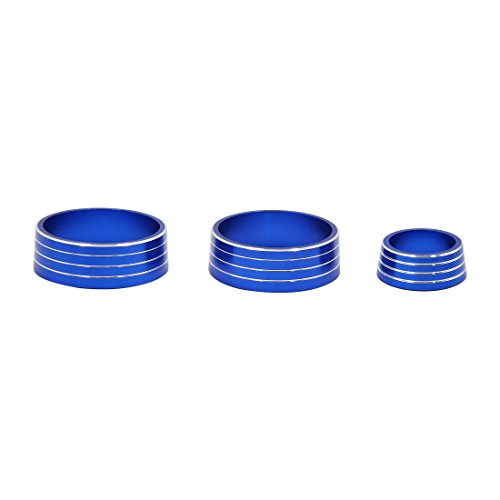 uxcell 3pcs Blue Air Condition Audio Switch Decorative Ring Set for Honda City XRV by uxcell (Image #2)