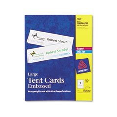 (3 Pack Value Bundle) AVE5309 Tent Cards, White, 3 1/2 x 11, 1 Card/Sheet, 50 Cards/Box by AVE5309