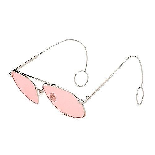 Personalidad Gafas sol de de sol de Unisex Marco Elegantes sol sol con Gafas de Elegante gafas Pendientes Gafas fino gafas Protección de Hombre sol para UV borde Rosado mujeres Delicadas lisas metal de qatawr