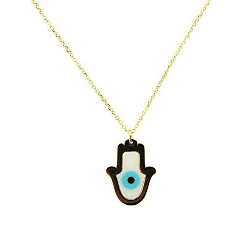 18K Yellow Gold Hamsa Fatima Hand and ceramic Eye with 16 inch chain by Amalia
