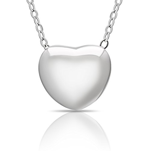 925 Sterling Silver Tiny Silver Heart Necklace Floating Silver Heart Necklace Simple Heart Charm Modern Minimalist Jewelry Gift For Her Necklace 16 inch + 2 Extn w Clasp ()