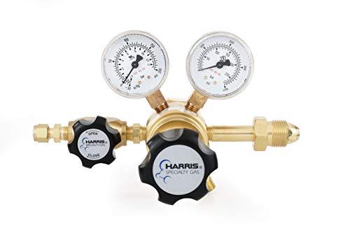 Nitrogen, Helium, Argon specialty gas lab regulator, CGA 580, 2-stage, brass, 0-125 PSI
