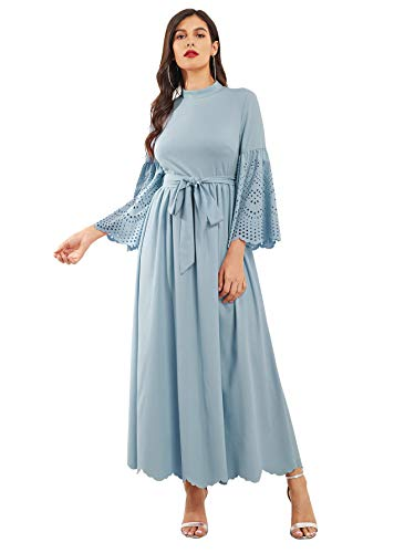 (Milumia Women's Scalloped Laser Cut Flounce Sleeve Hem Self Belted Maxi Dress Blue Medium)