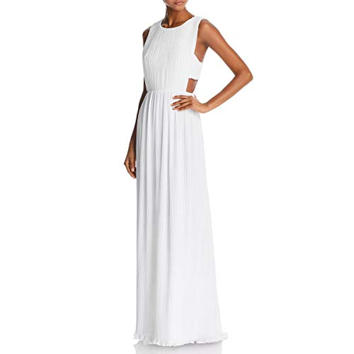 BCBG Max Azria Womens Raven Crinkled Sleeveless Evening Dress White 8 ()