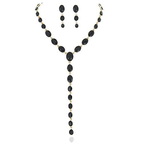 Jewelry Collection Gold (SP Sophia Collection Y Women's Jewelry Descending Oval Drop Necklace and Earrings Set in Gold Black)