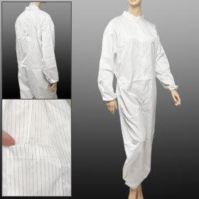 eDealMax Mujer Hombres camiseta manga larga blanca de rayas anti estática general del mono - - Amazon.com